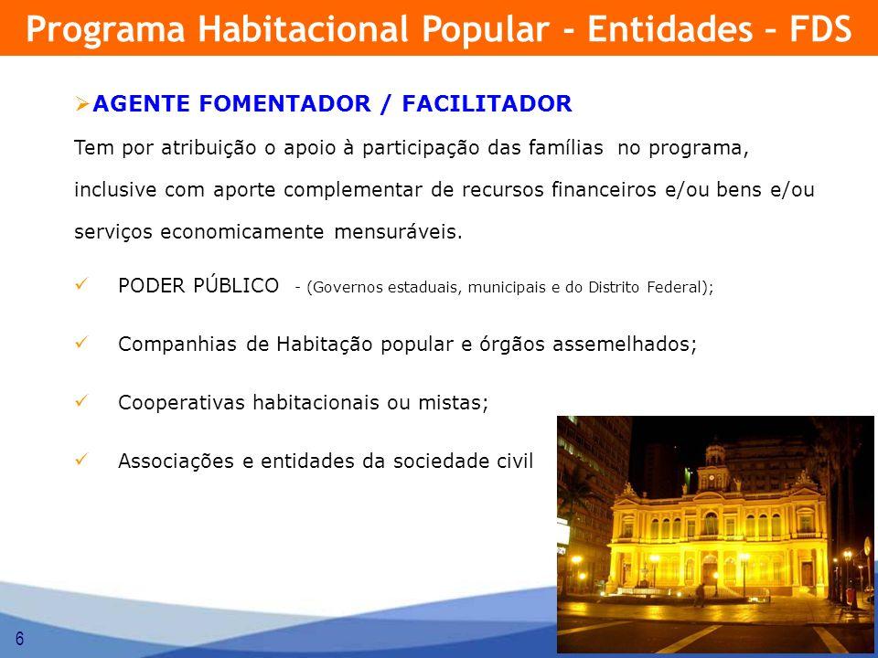 6 AGENTE FOMENTADOR / FACILITADOR Tem por atribuição o apoio à participação das famílias no programa, inclusive com aporte complementar de recursos fi