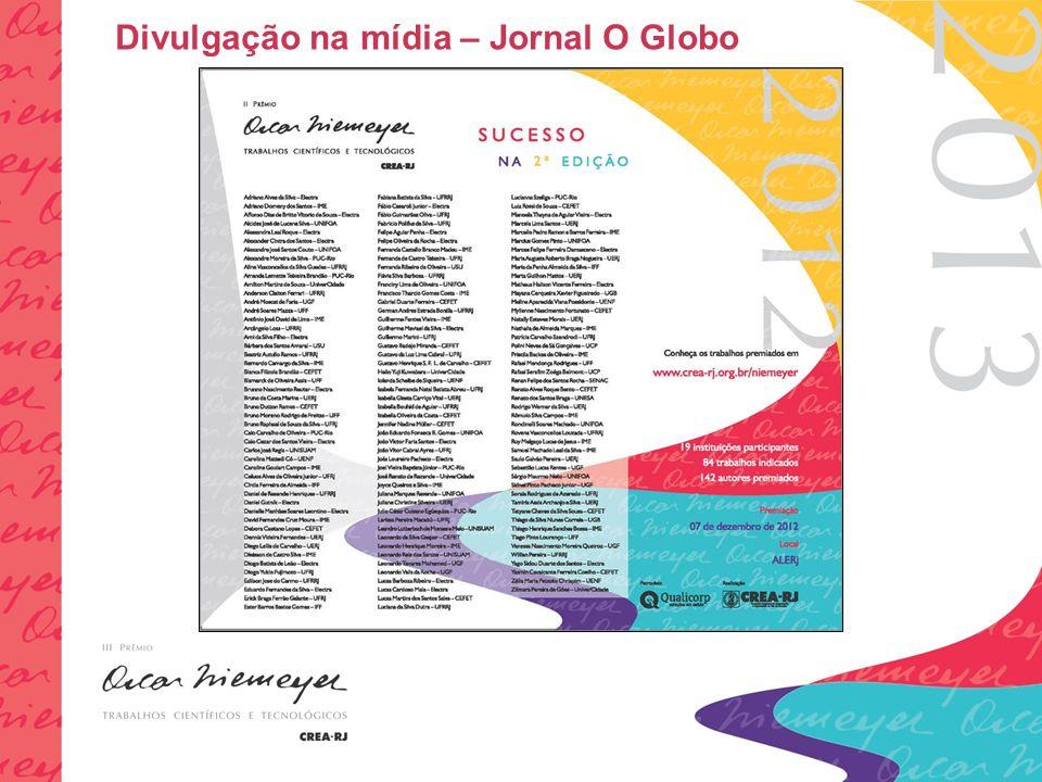 Divulgação na mídia – Jornal O Globo