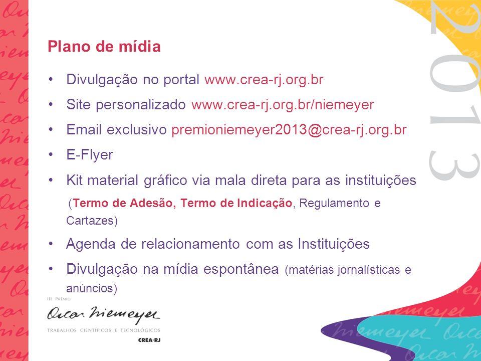 Plano de mídia Divulgação no portal www.crea-rj.org.br Site personalizado www.crea-rj.org.br/niemeyer Email exclusivo premioniemeyer2013@crea-rj.org.br E-Flyer Kit material gráfico via mala direta para as instituições (Termo de Adesão, Termo de Indicação, Regulamento e Cartazes) Agenda de relacionamento com as Instituições Divulgação na mídia espontânea (matérias jornalísticas e anúncios)