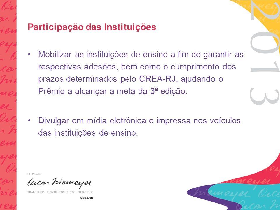 Participação das Instituições Mobilizar as instituições de ensino a fim de garantir as respectivas adesões, bem como o cumprimento dos prazos determinados pelo CREA-RJ, ajudando o Prêmio a alcançar a meta da 3ª edição.