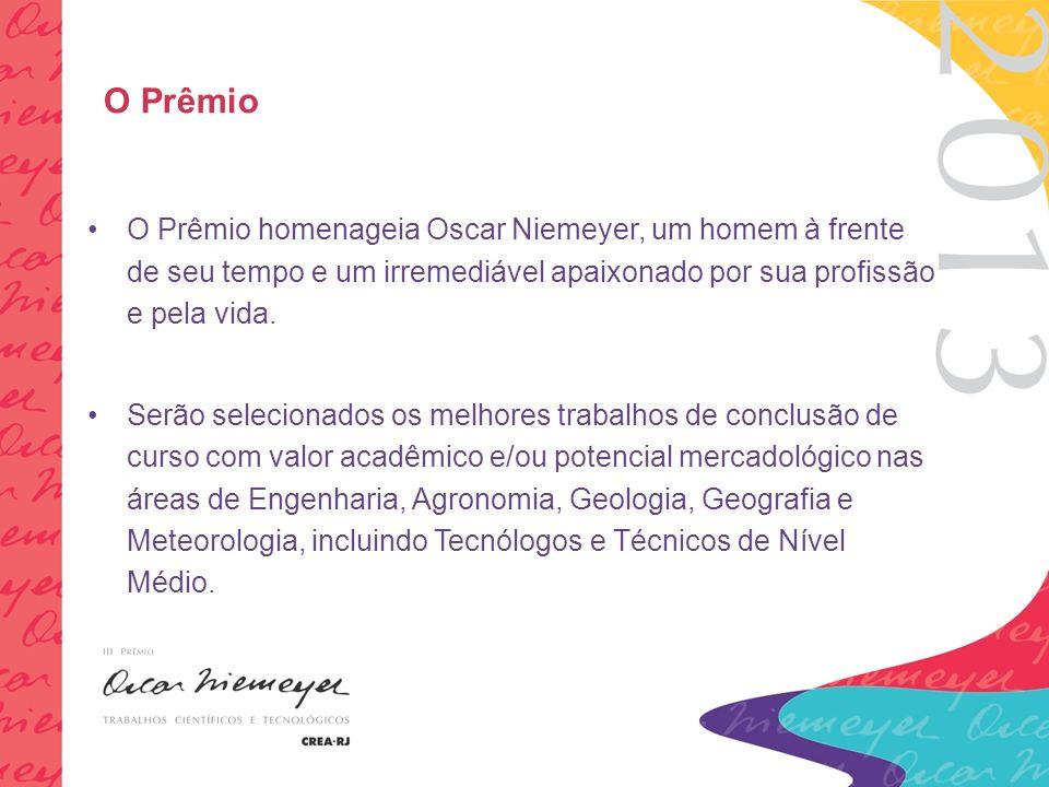 O Prêmio O Prêmio homenageia Oscar Niemeyer, um homem à frente de seu tempo e um irremediável apaixonado por sua profissão e pela vida.