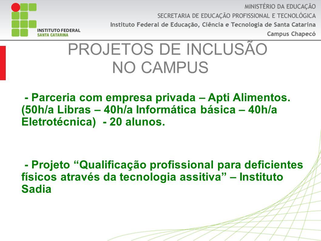 PROJETOS DE INCLUSÃO NO CAMPUS - Projeto Qualificação profissional para deficientes físicos através da tecnologia assitiva – Instituto Sadia - Parceria com empresa privada – Apti Alimentos.