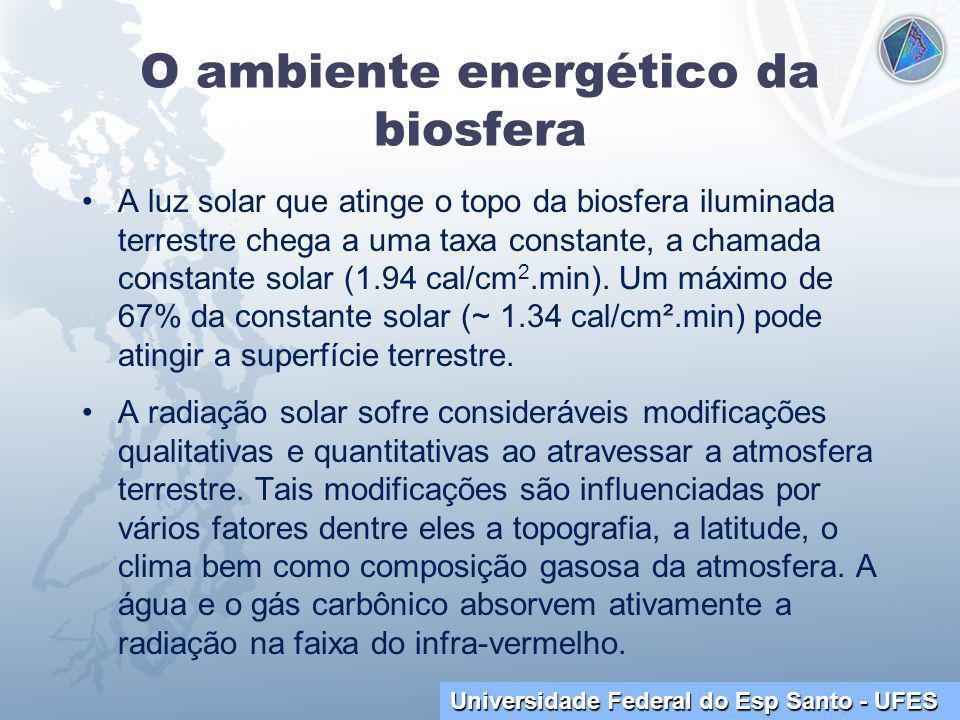 Universidade Federal do Esp Santo - UFES O ambiente energético da biosfera A luz solar que atinge o topo da biosfera iluminada terrestre chega a uma taxa constante, a chamada constante solar (1.94 cal/cm 2.min).