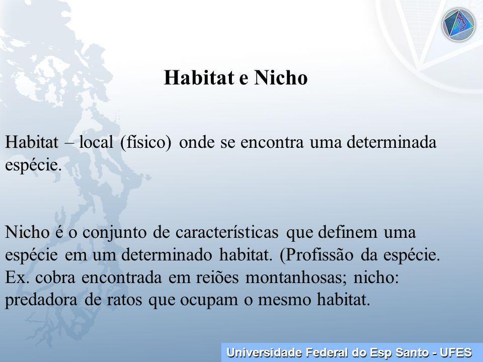 Universidade Federal do Esp Santo - UFES Habitat e Nicho Habitat Habitat – local (físico) onde se encontra uma determinada espécie.