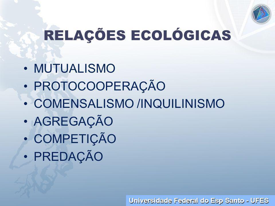Universidade Federal do Esp Santo - UFES RELAÇÕES ECOLÓGICAS MUTUALISMO PROTOCOOPERAÇÃO COMENSALISMO /INQUILINISMO AGREGAÇÃO COMPETIÇÃO PREDAÇÃO