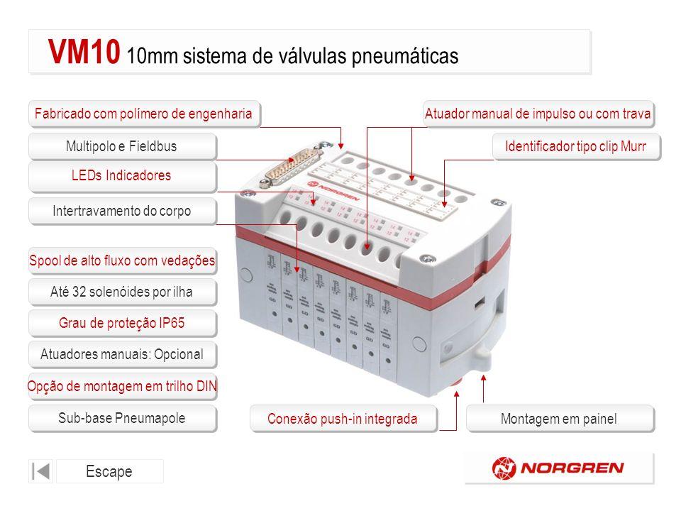 Opções de conexão Multipolo e Fieldbus e módulos intercambiáveis no campo Flexibilidade do sistema RETURN VM10 10mm sistema de válvulas pneumáticas