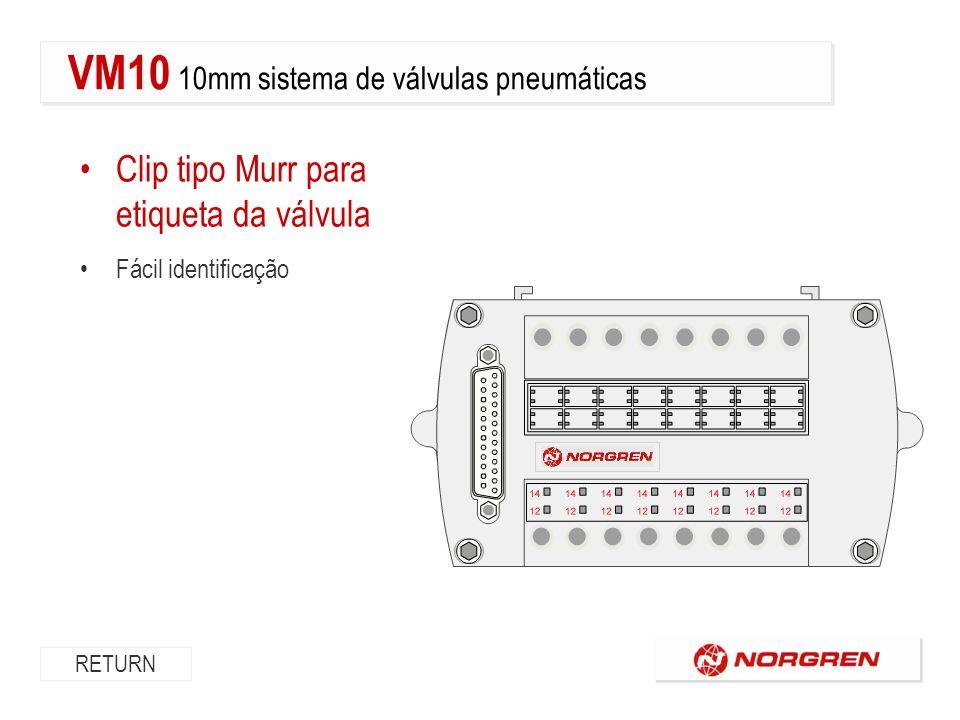 Clip tipo Murr para etiqueta da válvula Fácil identificação RETURN VM10 10mm sistema de válvulas pneumáticas