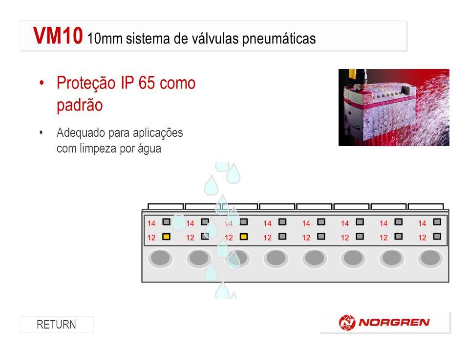 Proteção IP 65 como padrão Adequado para aplicações com limpeza por água RETURN VM10 10mm sistema de válvulas pneumáticas