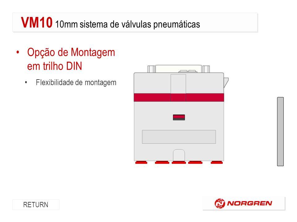 Opção de Montagem em trilho DIN Flexibilidade de montagem RETURN VM10 10mm sistema de válvulas pneumáticas