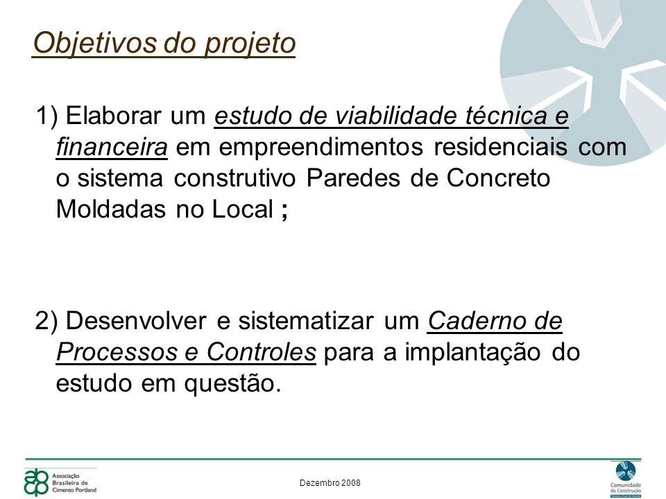 Dezembro 2008 Objetivos do projeto 1) Elaborar um estudo de viabilidade técnica e financeira em empreendimentos residenciais com o sistema construtivo