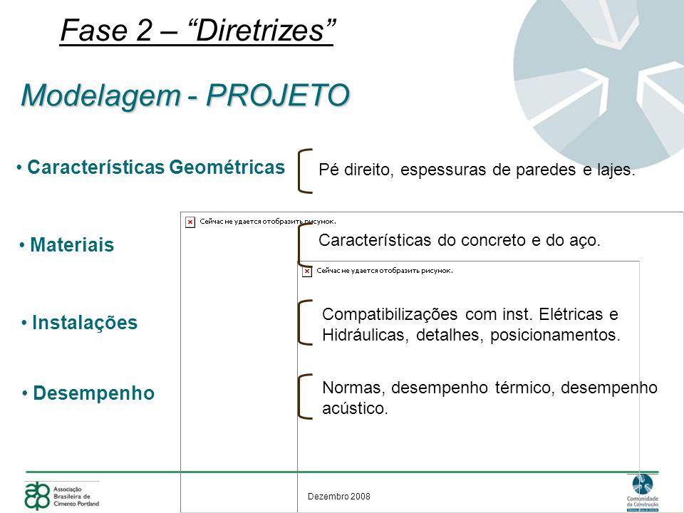 Dezembro 2008 Fase 2 – Diretrizes Modelagem - PROJETO Características Geométricas Pé direito, espessuras de paredes e lajes. Materiais Características