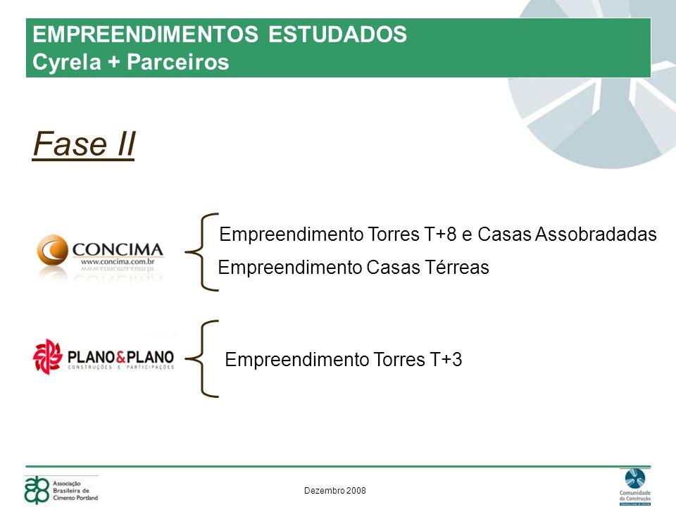 Dezembro 2008 Fase II EMPREENDIMENTOS ESTUDADOS Cyrela + Parceiros Empreendimento Torres T+8 e Casas Assobradadas Empreendimento Casas Térreas Empreendimento Torres T+3