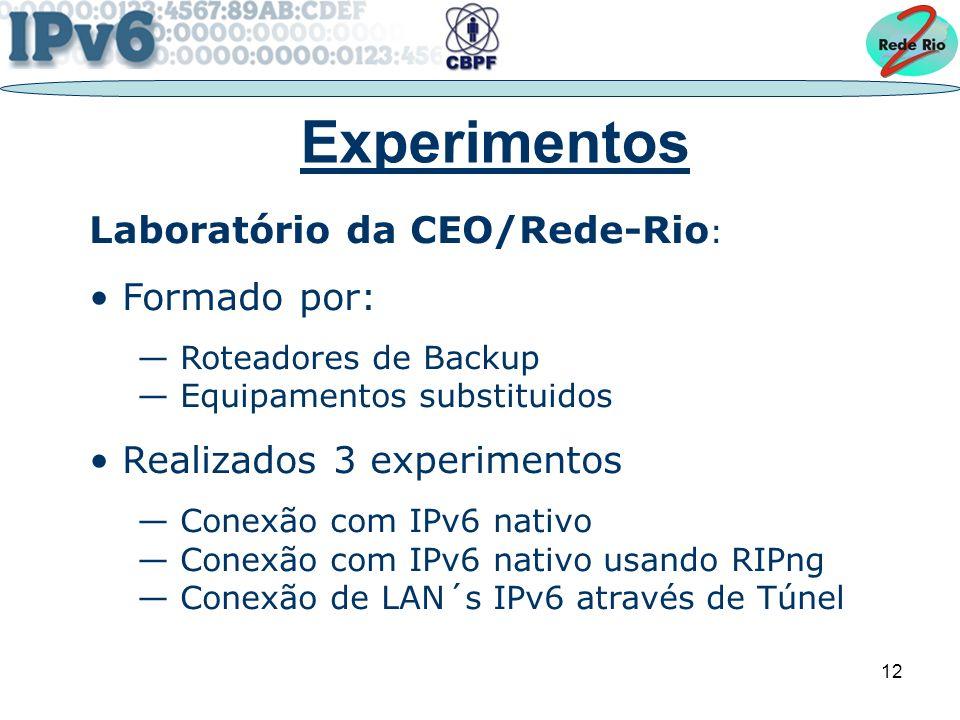 12 Experimentos Laboratório da CEO/Rede-Rio : Formado por: Roteadores de Backup Equipamentos substituidos Realizados 3 experimentos Conexão com IPv6 nativo Conexão com IPv6 nativo usando RIPng Conexão de LAN´s IPv6 através de Túnel