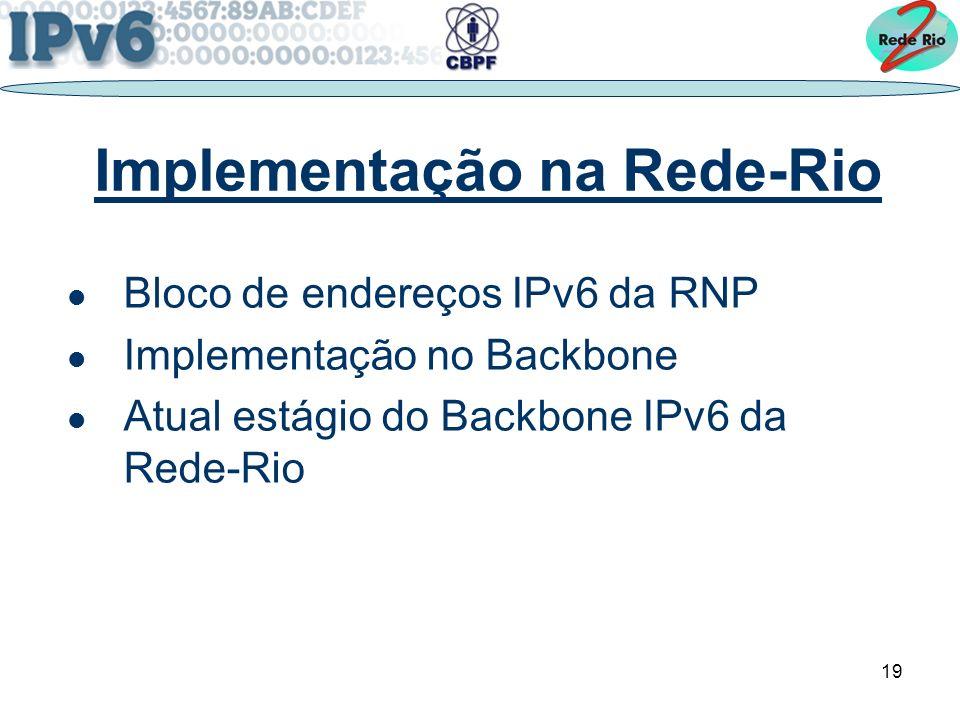 19 Implementação na Rede-Rio Bloco de endereços IPv6 da RNP Implementação no Backbone Atual estágio do Backbone IPv6 da Rede-Rio