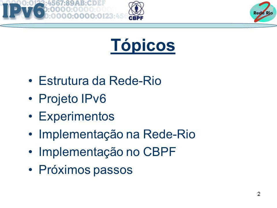 2 Tópicos Estrutura da Rede-Rio Projeto IPv6 Experimentos Implementação na Rede-Rio Implementação no CBPF Próximos passos