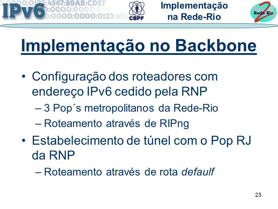 23 Implementação no Backbone Configuração dos roteadores com endereço IPv6 cedido pela RNP –3 Pop´s metropolitanos da Rede-Rio –Roteamento através de RIPng Estabelecimento de túnel com o Pop RJ da RNP –Roteamento através de rota defaulf Implementação na Rede-Rio