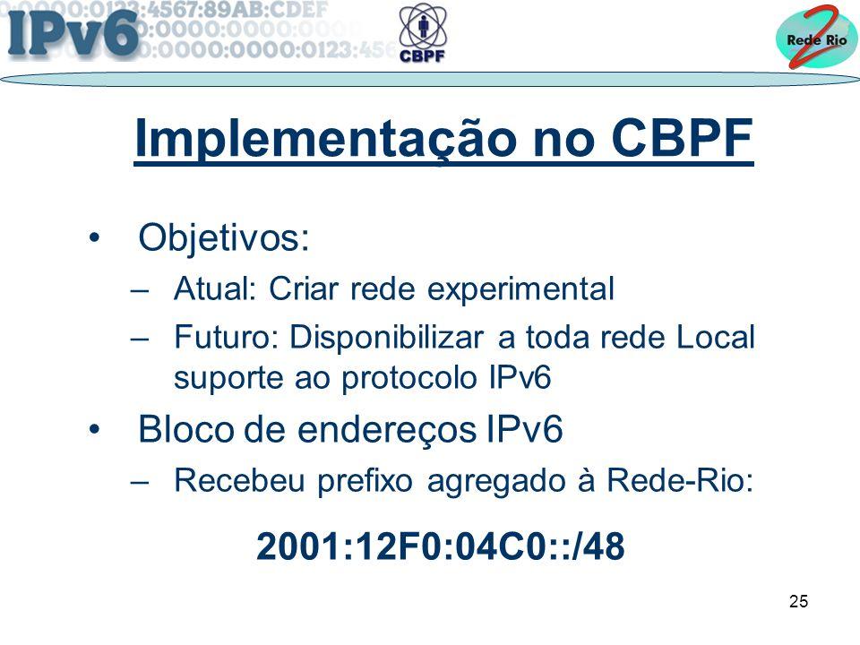 25 Implementação no CBPF Objetivos: –Atual: Criar rede experimental –Futuro: Disponibilizar a toda rede Local suporte ao protocolo IPv6 Bloco de endereços IPv6 –Recebeu prefixo agregado à Rede-Rio: 2001:12F0:04C0::/48