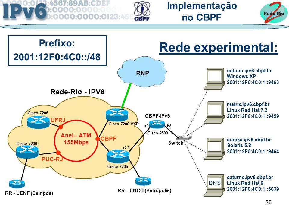 26 Rede-Rio - IPV6 UFRJ PUC-RJ Cisco 7206 RR - UENF (Campos) CBPF RR – LNCC (Petrópolis) Cisco 7206 VXR RNP Anel – ATM 155Mbps netuno.ipv6.cbpf.br Windows XP matrix.ipv6.cbpf.br Linux Red Hat 7.2 saturno.ipv6.cbpf.br Linux Red Hat 9 eureka.ipv6.cbpf.br Solaris 5.8 Rede experimental: Implementação no CBPF Switch DNS netuno.ipv6.cbpf.br Windows XP 2001:12F0:4C0:1::9463 matrix.ipv6.cbpf.br Linux Red Hat 7.2 2001:12F0:4C0:1::9459 saturno.ipv6.cbpf.br Linux Red Hat 9 2001:12F0:4C0:1::5039 eureka.ipv6.cbpf.br Solaris 5.8 2001:12F0:4C0:1::9464 Prefixo: 2001:12F0:4C0::/48 Cisco 2500 CBPF-IPv6 s0 e0 s2/3