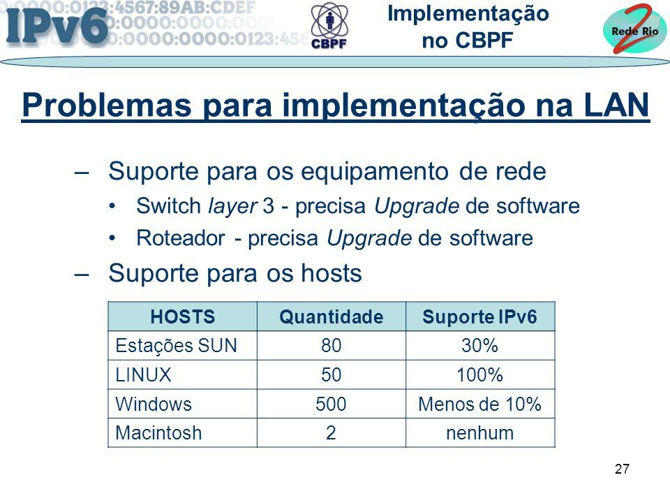 27 –Suporte para os equipamento de rede Switch layer 3 - precisa Upgrade de software Roteador - precisa Upgrade de software –Suporte para os hosts Problemas para implementação na LAN Implementação no CBPF HOSTSQuantidadeSuporte IPv6 Estações SUN8030% LINUX50100% Windows500Menos de 10% Macintosh2nenhum