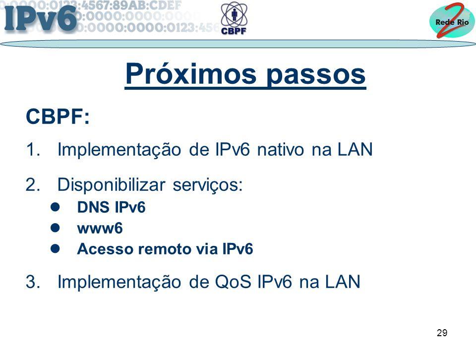 29 Próximos passos CBPF: 1.Implementação de IPv6 nativo na LAN 2.Disponibilizar serviços: DNS IPv6 www6 Acesso remoto via IPv6 3.Implementação de QoS IPv6 na LAN