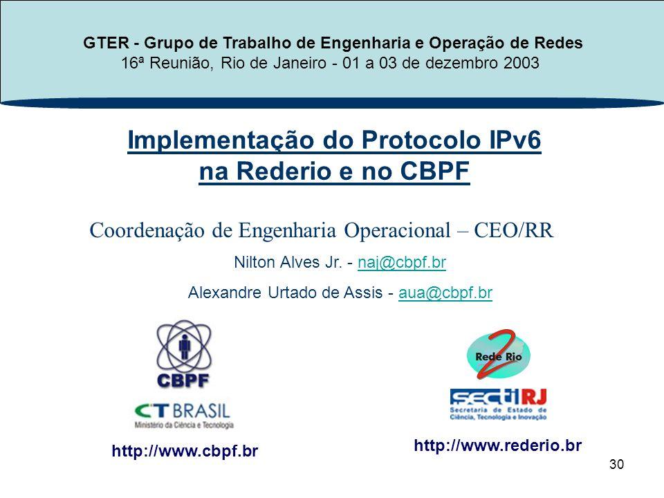 30 Implementação do Protocolo IPv6 na Rederio e no CBPF http://www.cbpf.br http://www.rederio.br Nilton Alves Jr. - naj@cbpf.brnaj@cbpf.br Alexandre U