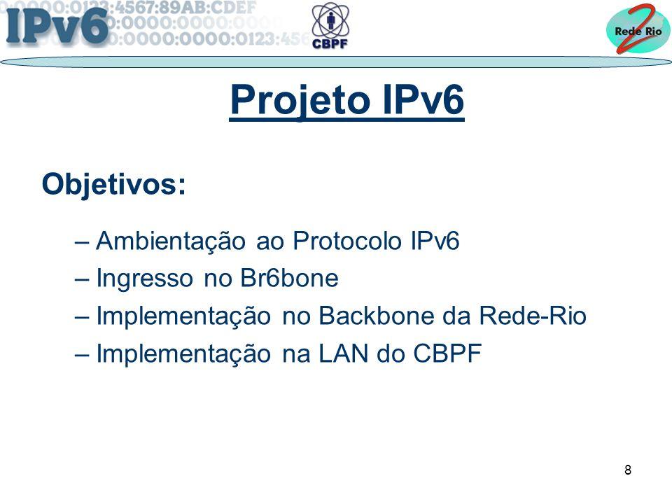 8 Projeto IPv6 Objetivos: –Ambientação ao Protocolo IPv6 –Ingresso no Br6bone –Implementação no Backbone da Rede-Rio –Implementação na LAN do CBPF