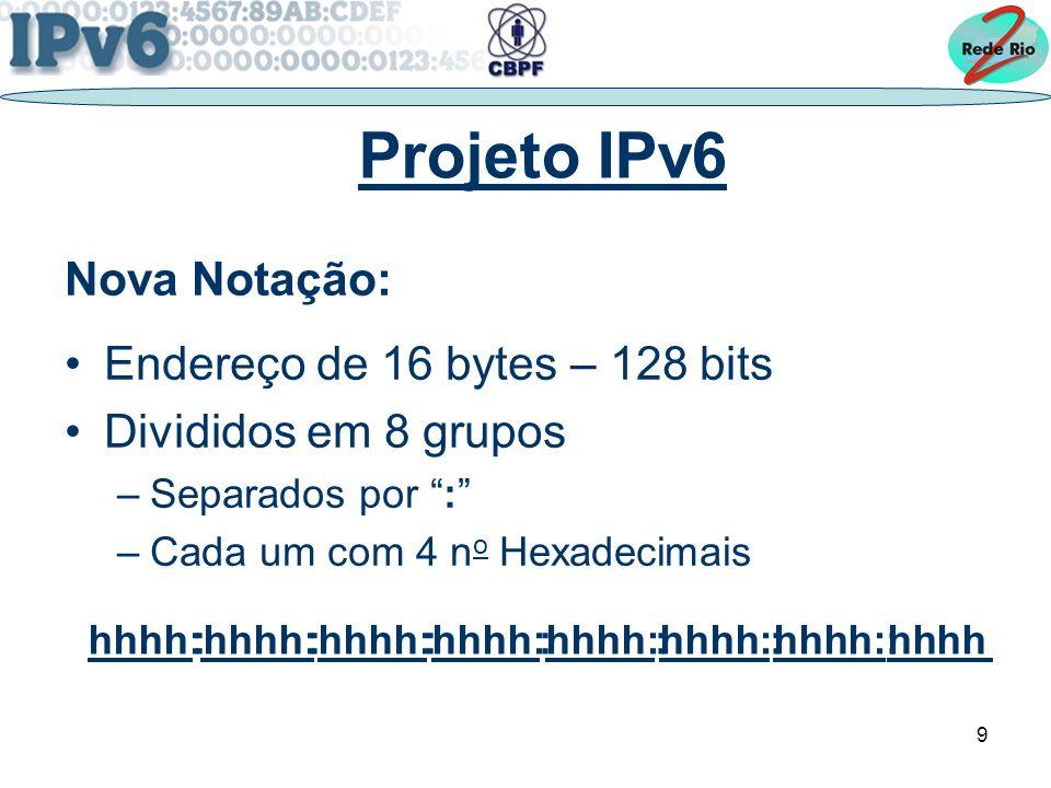 9. : : : : : : :. Projeto IPv6 Nova Notação: Endereço de 16 bytes – 128 bits Divididos em 8 grupos –Separados por : –Cada um com 4 n o Hexadecimais hh