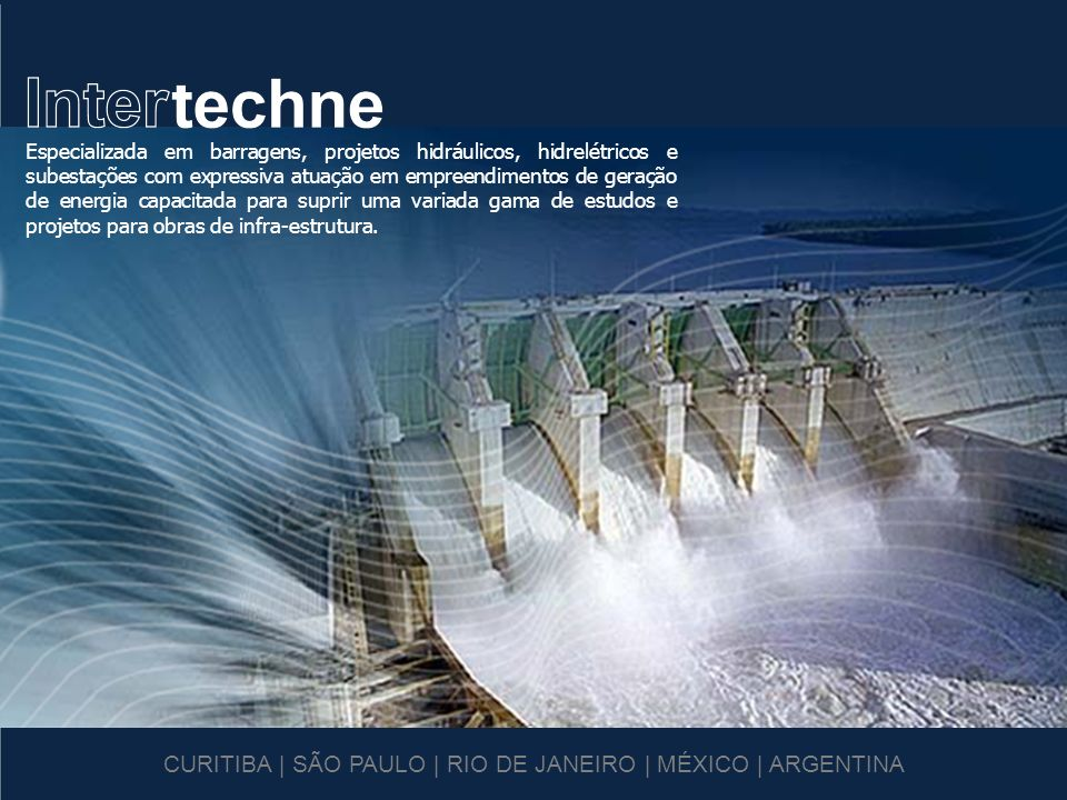 Principais Projetos Internacionais UHE Bakun – 2400 MW UHE Chaparral – 64 MW UHE El Cajón – 700 MW UHE Pichi Picun Leufu – 260 MW UHE Palomino – 99 MW UHE Palmucho – 35 MW UHE Toachi Pilatón – 236 MW UHE La Confluencia – 150 MW UHE Xacbal – 95,6 MW AHE Laúca – 2067 MW AHE Caculo Cabaça – 2051 MW Barragem General Mugica Barragem Picachos Barragem Remigio Rojas El Cajón Palmucho Chaparral