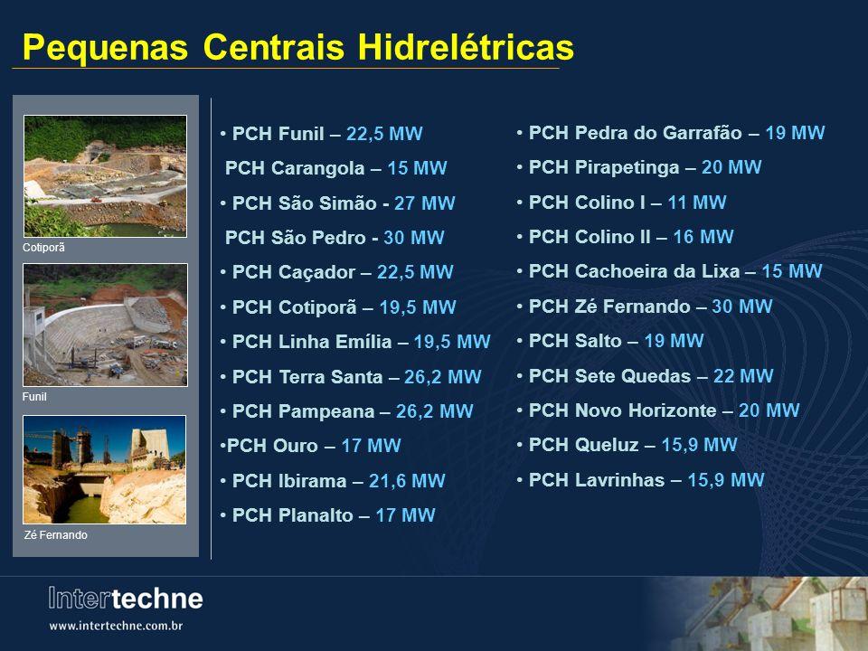 Pequenas Centrais Hidrelétricas PCH Funil – 22,5 MW PCH Carangola – 15 MW PCH São Simão - 27 MW PCH São Pedro - 30 MW PCH Caçador – 22,5 MW PCH Cotipo