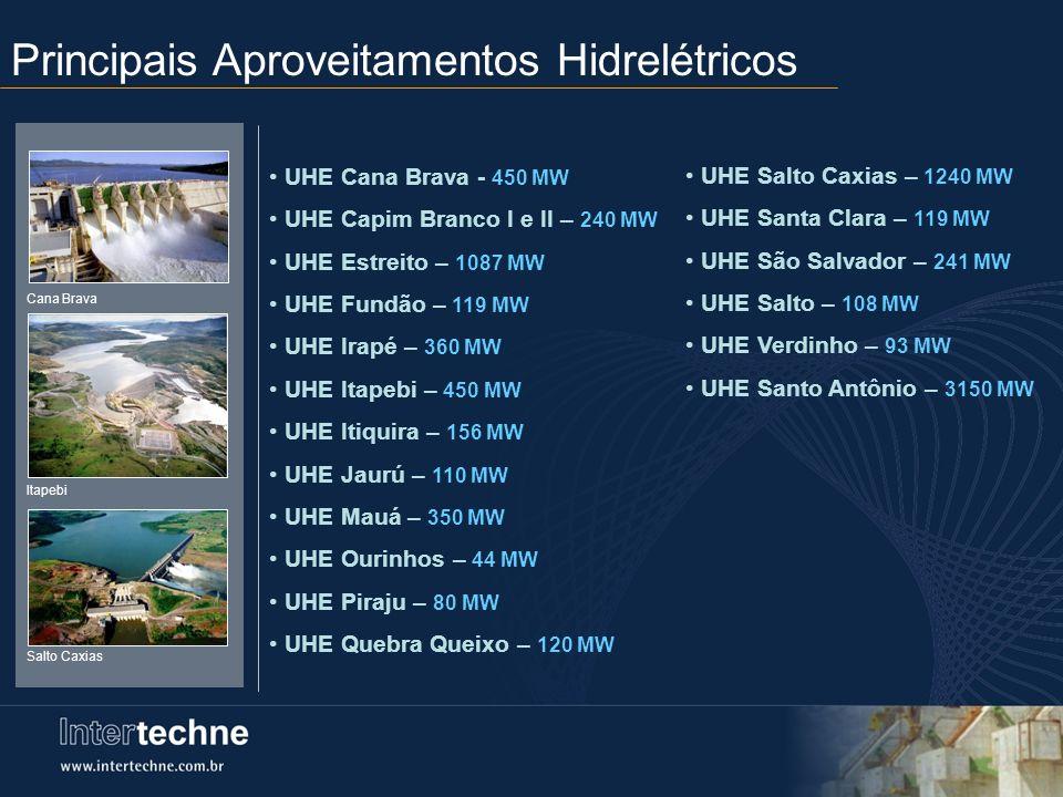 Principais Aproveitamentos Hidrelétricos UHE Cana Brava - 450 MW UHE Capim Branco I e II – 240 MW UHE Estreito – 1087 MW UHE Fundão – 119 MW UHE Irapé