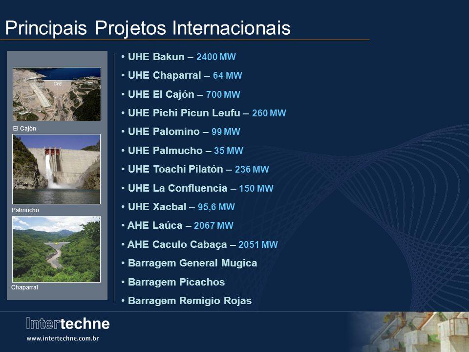 Principais Projetos Internacionais UHE Bakun – 2400 MW UHE Chaparral – 64 MW UHE El Cajón – 700 MW UHE Pichi Picun Leufu – 260 MW UHE Palomino – 99 MW