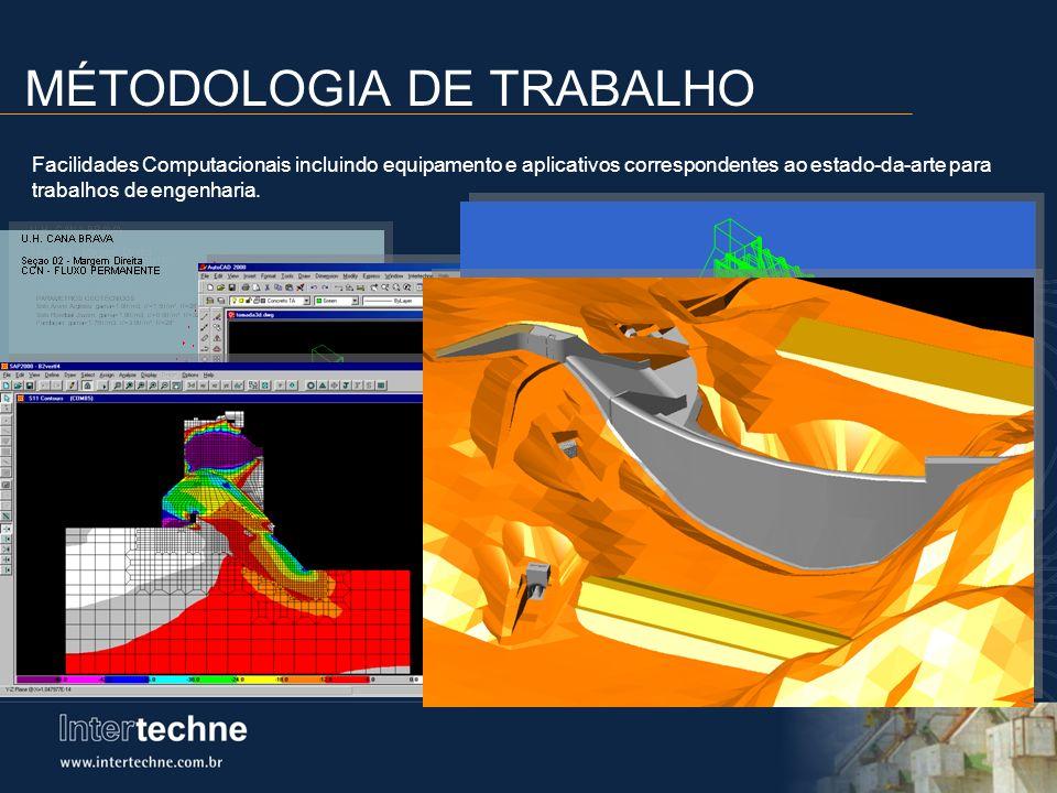 MÉTODOLOGIA DE TRABALHO Facilidades Computacionais incluindo equipamento e aplicativos correspondentes ao estado-da-arte para trabalhos de engenharia.