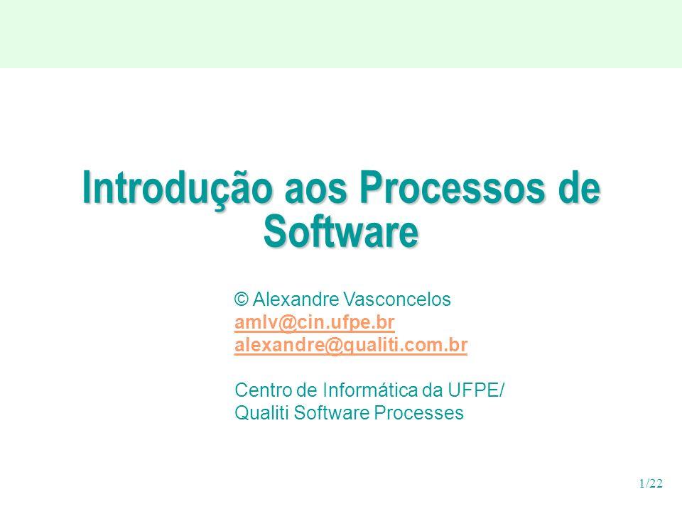 1/22 Introdução aos Processos de Software © Alexandre Vasconcelos amlv@cin.ufpe.br alexandre@qualiti.com.br Centro de Informática da UFPE/ Qualiti Software Processes