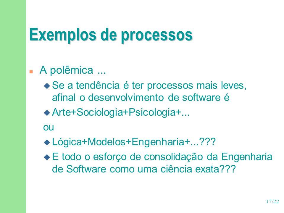 17/22 Exemplos de processos n A polêmica...