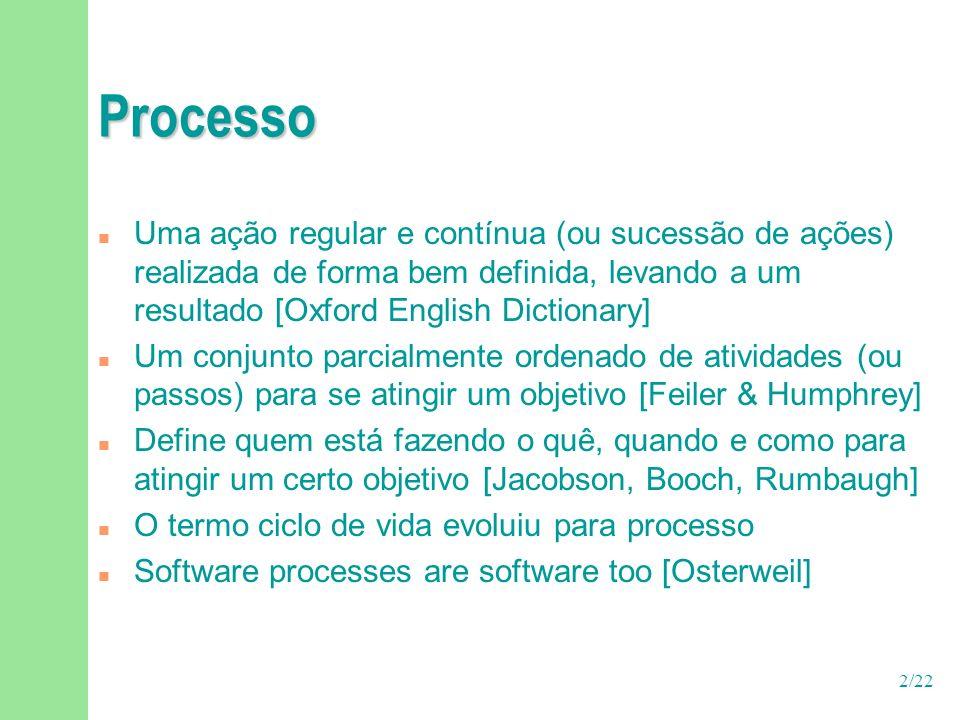 3/22 Processo versus metodologia n Alguns autores consideram que processos incluem u uma metodologia u pessoas u tecnologia (suporte de ferramentas) n Outros consideram que uma metodologia é a especialização de um processo com um conjunto de métodos