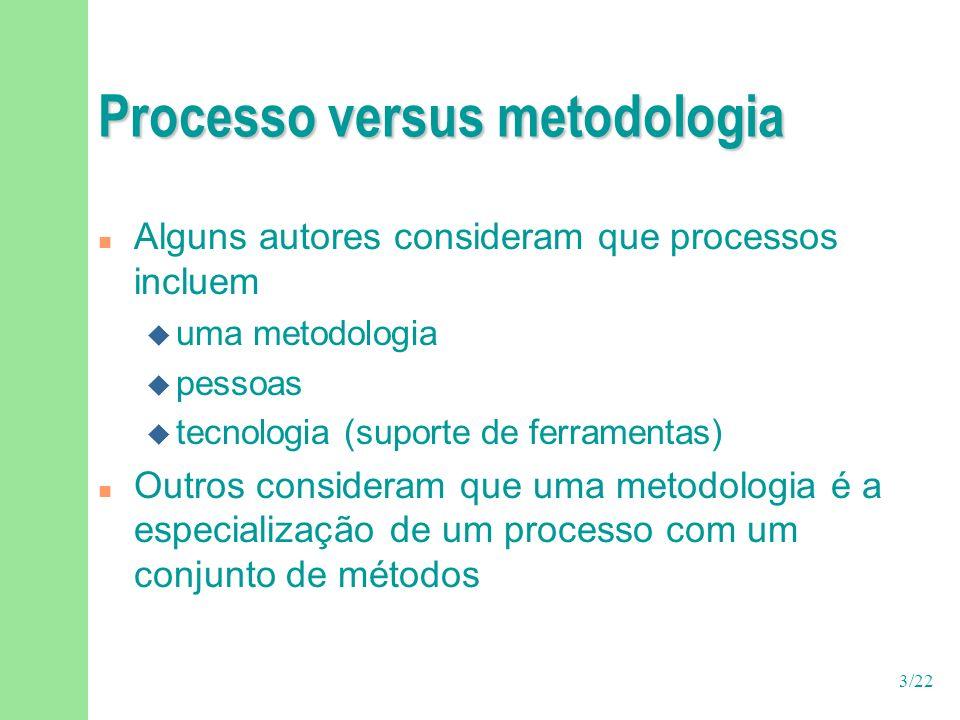 14/22 Exemplos de processos n Processos tradicionais (pesados) u RUP, OPEN, Catalysis n Processos ágeis (leves) u XP, Agile modeling, Crystal