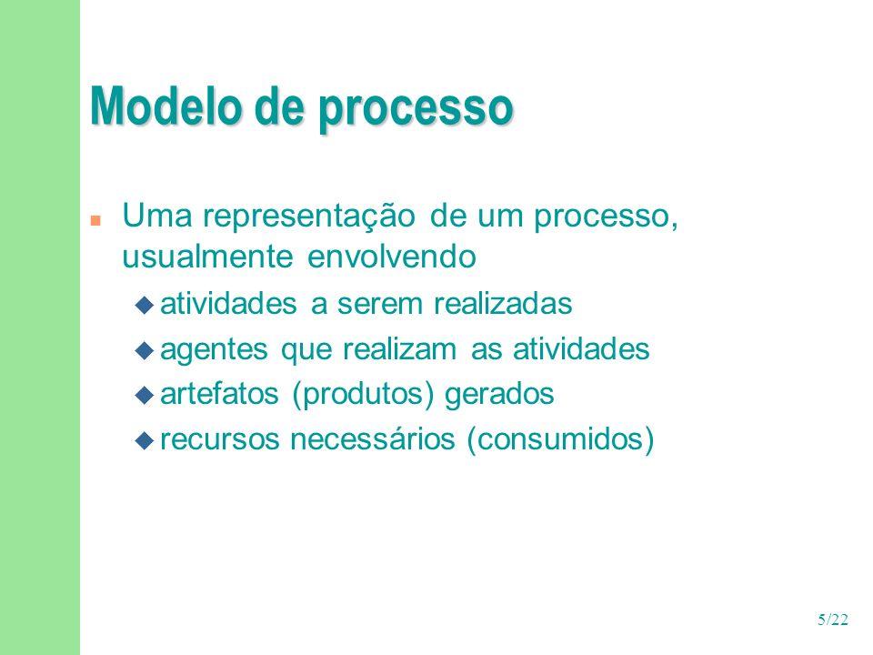 5/22 Modelo de processo n Uma representação de um processo, usualmente envolvendo u atividades a serem realizadas u agentes que realizam as atividades u artefatos (produtos) gerados u recursos necessários (consumidos)