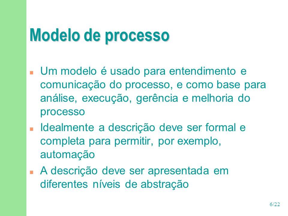 7/22 Modelo de processo n O formalismo utilizado para representar o processo é o ingrediente mais importante da modelagem n Não parece haver consenso sobre um formalismo ideal u Terminologias distintas F Fase (Fusion), workflow (RUP), disciplina (RUP), atividade (conceito diferente no OPEN e no RUP) u Mas há um esforço de padronização (SPEM – OMG)