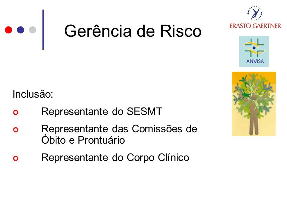 Gerência de Risco Inclusão: Representante do SESMT Representante das Comissões de Óbito e Prontuário Representante do Corpo Clínico