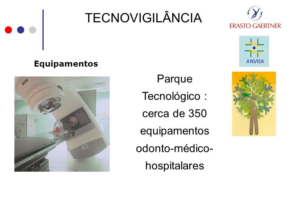 TECNOVIGILÂNCIA Equipamentos Parque Tecnológico : cerca de 350 equipamentos odonto-médico- hospitalares