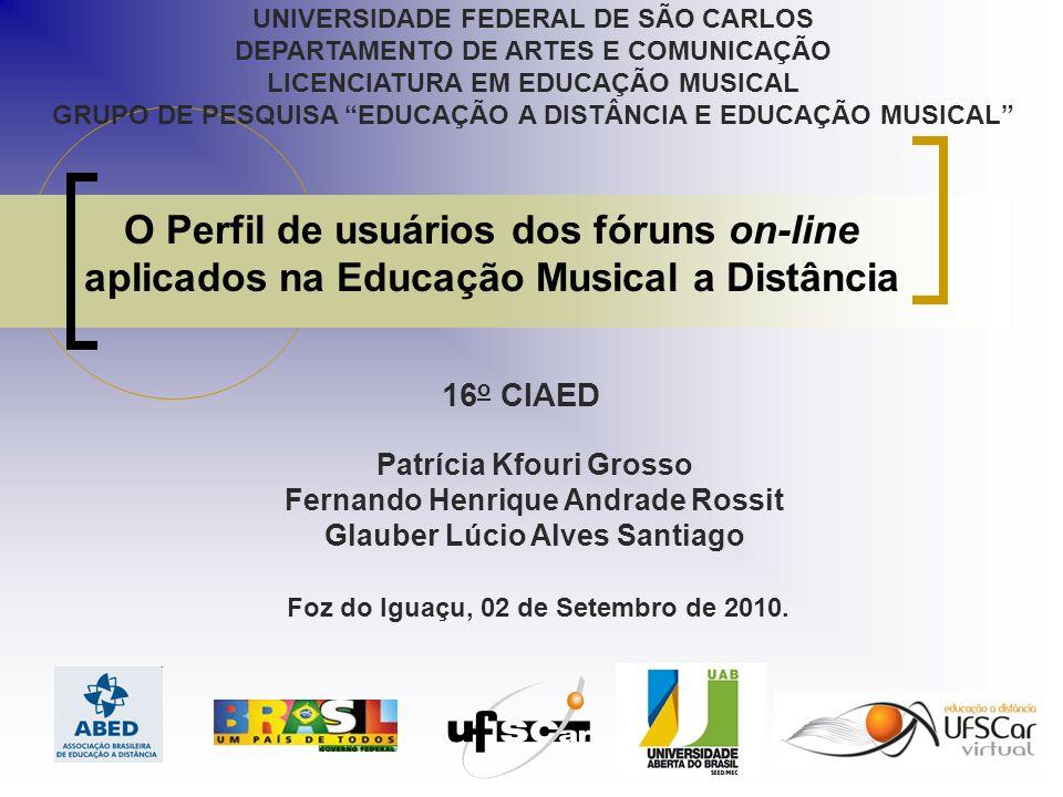 O Perfil de usuários dos fóruns on-line aplicados na Educação Musical a Distância Patrícia Kfouri Grosso Fernando Henrique Andrade Rossit Glauber Lúcio Alves Santiago Foz do Iguaçu, 02 de Setembro de 2010.