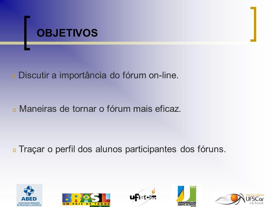 OBJETIVOS o Discutir a importância do fórum on-line.