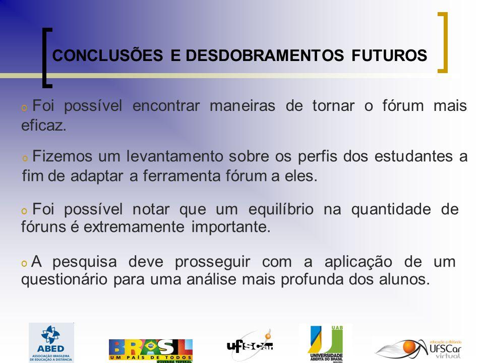 CONCLUSÕES E DESDOBRAMENTOS FUTUROS o Foi possível encontrar maneiras de tornar o fórum mais eficaz.