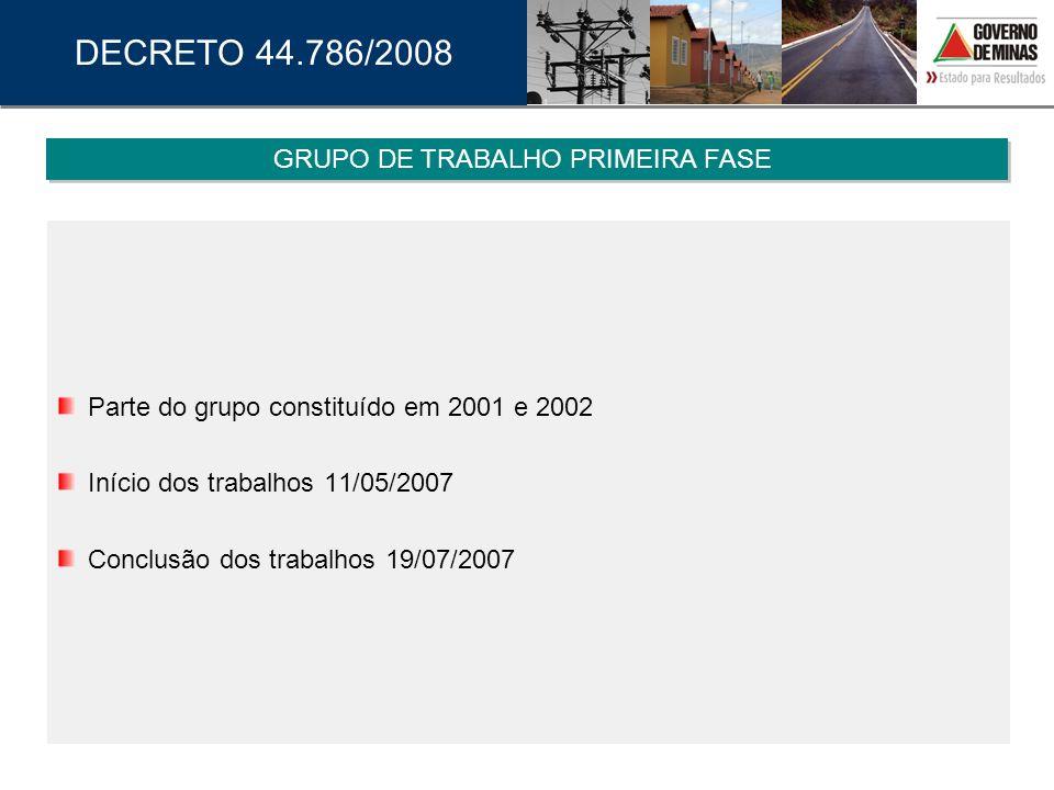 Parte do grupo constituído em 2001 e 2002 Início dos trabalhos 11/05/2007 Conclusão dos trabalhos 19/07/2007 GRUPO DE TRABALHO PRIMEIRA FASE DECRETO 4