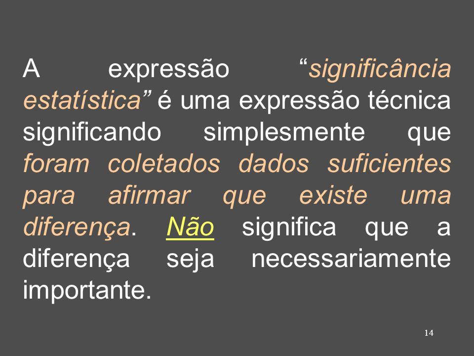 14 A expressão significância estatística é uma expressão técnica significando simplesmente que foram coletados dados suficientes para afirmar que exis