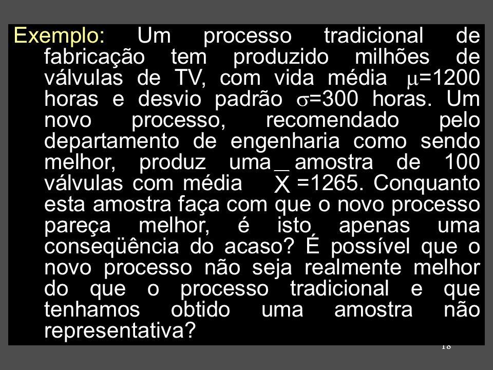 18 Exemplo: Um processo tradicional de fabricação tem produzido milhões de válvulas de TV, com vida média =1200 horas e desvio padrão =300 horas. Um n