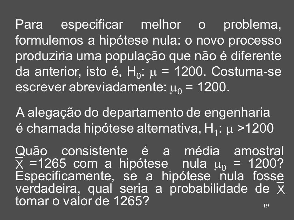 19 Para especificar melhor o problema, formulemos a hipótese nula: o novo processo produziria uma população que não é diferente da anterior, isto é, H