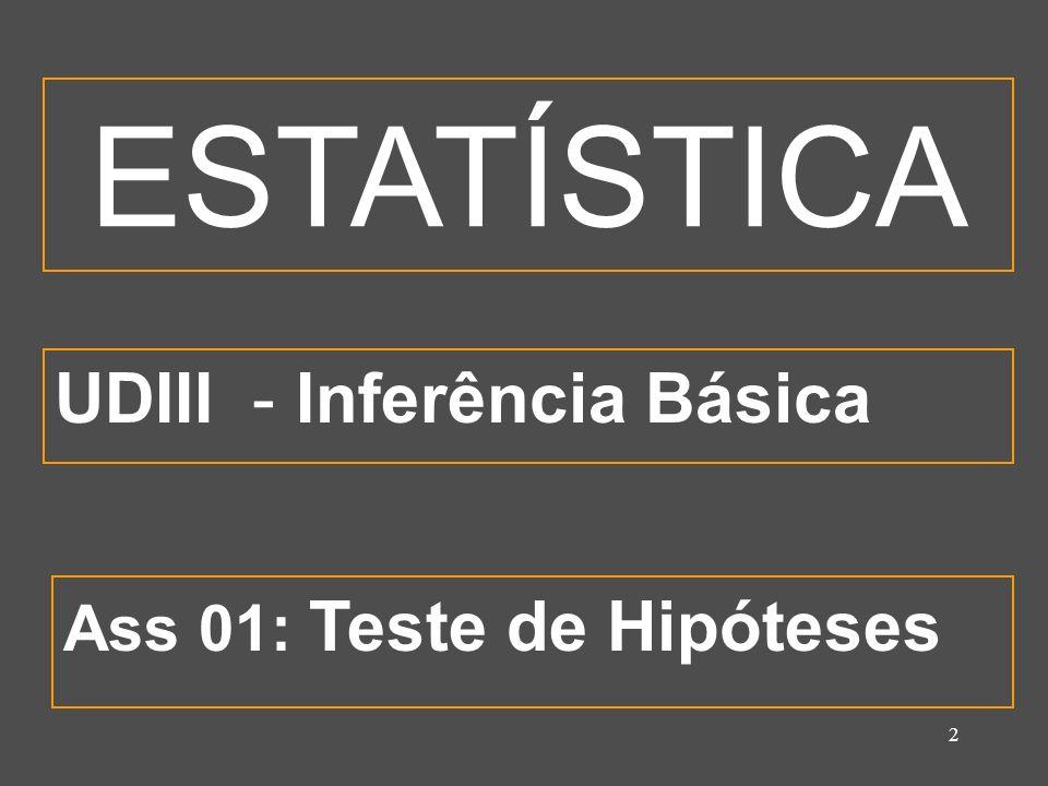 2 UDIII - Inferência Básica Ass 01: Teste de Hipóteses ESTATÍSTICA