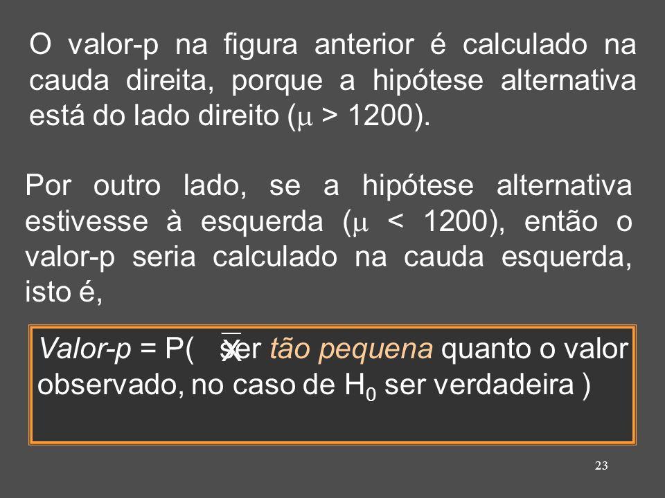23 O valor-p na figura anterior é calculado na cauda direita, porque a hipótese alternativa está do lado direito ( > 1200). Por outro lado, se a hipót