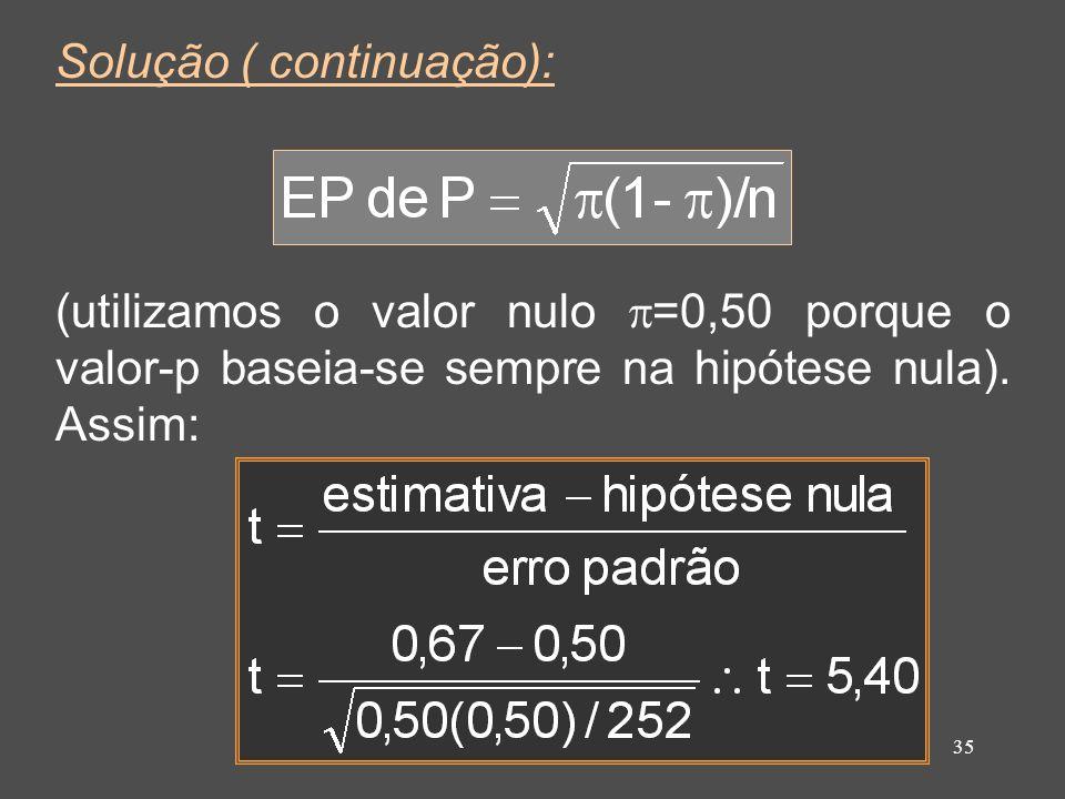 35 Solução ( continuação): (utilizamos o valor nulo =0,50 porque o valor-p baseia-se sempre na hipótese nula). Assim:
